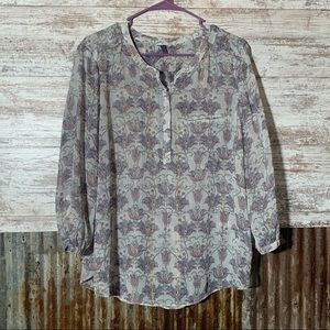 NYDJ Patterned Blouse with Metallic Detail Sz PXL